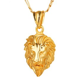 Wholesale Lion Head Necklace Wholesale - Hip Hop Jewelry Gold Big Lion Head Chunky Pendant & Necklace Animal King Vintage Gold Hiphop Chain For Women Men Jewelry