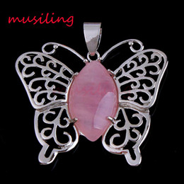 Wholesale Crystal Butterfly Charms - Butterfly Pendants Pendulum Natural Stone Jewelry For Women Silver Plated Charms Bohemian Healing Chakra Amulet Fashion Jewelry