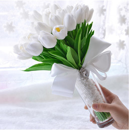 Wholesale Cheap Bouquets For Bridesmaids - Cheap Flowers Holding White Tulip White Bridal Bouquets 35PCS With Bow Adorned Bridesmaids Bouquet Bundle For Wedding Holding Flowers