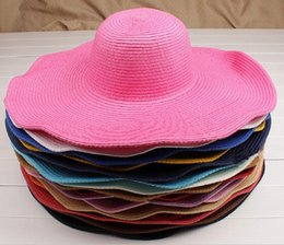 Wholesale Sun Hat Fashion Women s floppy hat Foldable Wide Large Brim Floppy bucket hat Summer Beach Sun Straw Hat Cap
