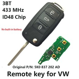 Wholesale Ad Chips - Car Remote Key for VW Volkswagen GOLF PASSAT 433 MHz ID48 Chip 5K0 837 202 AD 2011-2016