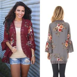 Wholesale Big Size Long Cardigan - Autumn Long Cardigans 2017 Fashion Women Flower Print Coat Long Sleeve Female V Neck Big Size Cardigan S-XL RF0223