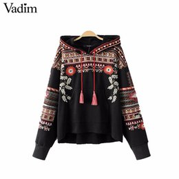 Wholesale Vintage Hooded Sweatshirts - Wholesale- Vadim vintage totem geometric embroidery hooded sweatshirt oversized sequined long sleeve pullover casual tops sudaderas SW1211