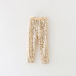 Autumn New girls Leggings kids gold sequins pants children Bottoms girls princess pants 5 p l