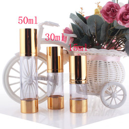 Wholesale Glass Bottle Press Pump - 15g 30g 50g gold empty vacuum airless press pump cosmetic bottles , 1oz lotion cream cosmetic packaging travel size bottles