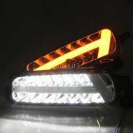 Wholesale Ford Front Bumpers - July King LED Daytime Running Lights DRL Case For Ford Focus IV 2015~ON, LED Front Bumper Fog Lamp With Yellow Turn Signal Lights