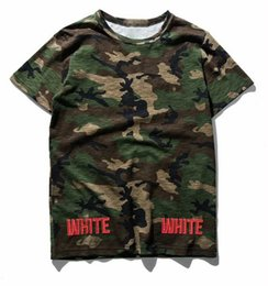 Wholesale Women Camouflage Fashion Shirts - (superior quality) Tide brand off white green camouflage convex stripes tide men and women casual t-shirt t-shirt