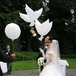 Wholesale Wholesale Halloween Inflatables - White Dove Balloons Aluminum Helium Inflatable Biodegradable Foil Balloons Pigeon Peace Eco Friendly Balloon Wedding Party Decorations