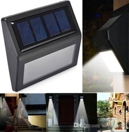 Wholesale Solar Lights For Steps - Outdoor Wall Lamps Solar Lights IP55 Solar Powered Auto Sensor Light for Modern Fixture Hallway Garden Stair Fence Wall Step Lighting