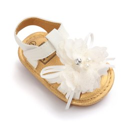 Wholesale Chiffon Sandals - Summer Newborn Baby sandals First Walkers Infant Toddler chiffon flowers Baby Girls Moccasins Soft Moccs Shoes Footwear Baby sandals A9583