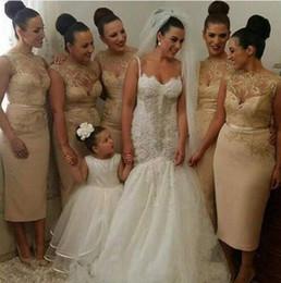 Wholesale Satin Ivory Wedding Dress Belt - 2016 Vintage Tea Length Champagne Bridesmaid Dresses Lace Appliques Sheer Neck Bridesmaid Gowns With Belt Short Wedding Guest Gowns Custom