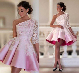 Wholesale Dresses One Sleeve Custom Made - Baby Pink One-shoulder Homecoming Dresses Lace Decor Half Sleeve Satin Ruched Short Party Dresses Custom Made Dubai Style Formal Prom Dress