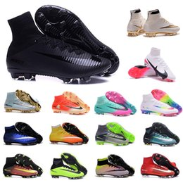 Wholesale Soft Red Leather Shoes - Mens CR7 Mercurial x EA SPORTS Superfly V FG Soccer Shoes Magista Obra 2 Boys Soccer Cleats Women Football Boots Youth Cristiano Ronaldo