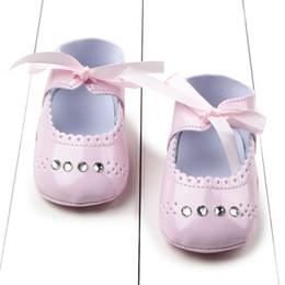 Wholesale Baby Shoes Girl Diamond - Wholesale- Newborn Baby Girl Soft Sole Diamond Princess Crib Shoes Kids First Walk Shoes 0-12M Shoes