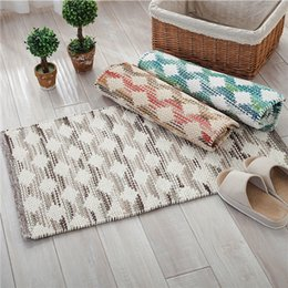 Wholesale Brown Area - Tartan Carpet Modern Tartan Area Rug Design Manual Cotton Carpet Decorative Blanket Gray Blue Brown Rectangular Lattice Small Carpet