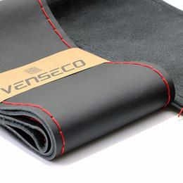 Wholesale Oem Steering Wheel - VENSECO soft genuine leather wheel cover classical DIY steering cover OEM Anti-skid texture car steering wheel leather