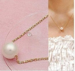 Wholesale Rope Necklaces Materials - Classical style, Gold and Silver clavicle necklace with single pearl pendant, alloy material, very cheap but hign quality and free shipping
