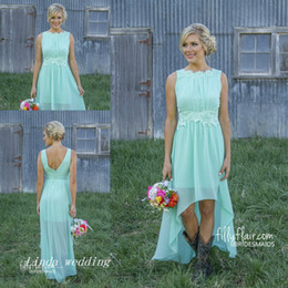 Wholesale Lavender Romance Dresses - Romance High-Low Bridesmaid Dress New Mint Green Colour Chiffon Zipper Maid of Honor Wedding Party Gown