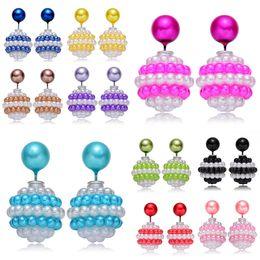 Wholesale Cheap Big Pearl Earrings - 2016 New Brand Jewelry Shining Color Brincos Double Side Simulated Pearl Earrings Cheap Big Ball Silver Earrings for Women Stud Earrings