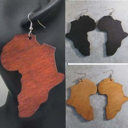 Wholesale Free Map - Hot Sale !Classic Africa Map Wooden Wood Fashion Hip Hop Earrings Free Shipping Wholesale