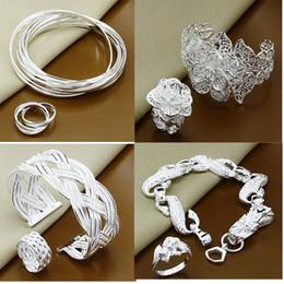 Wholesale Dragon Ring Bracelet Set - 4 Style Wholesale 2 set a lot Silver necklace fashion cool man dragon style flower charms Jewelry set Bracelet+Ring set SE02