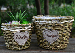 Wholesale Small Potted Artificial Flowers - 4PCS - PACK Country Style Handmade Flower Basket Straw Plaited Artificial Plants Storage Vase Pastoral Flower Pot Home Decor