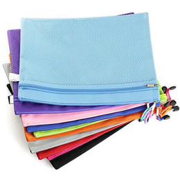 Wholesale A4 Paper Folder - 5pcs lot Raibow Color Gridding Document Bag With Zipper Free Shipping Multilayers Zipper Filing Products A4 Folder For Papers Papelaria