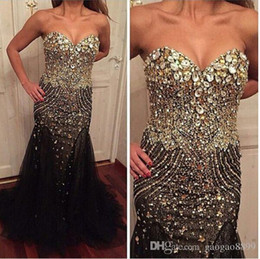 Wholesale Evening Fully Beaded - 2017 Bling Bling Rhinestone Pageant Party Prom Dresses Black Sweetheart Special Occasion Gown Fully Beaded Dress Evening Wear