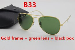 Wholesale Gold Mirrored Aviator Sunglasses - Classic Designer Sunglasses Designer Aviator Sunglasses Men Women 58mm62mm Green Glass Lens Gold Frame Vintage Sunglasses & Boxes