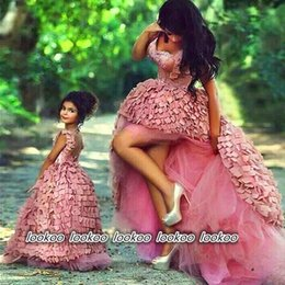 Wholesale Interview Suits For Girls - 2017 New Kids Party Ball Designs Children Pageant Interview Suits Flower Girl Dresses For Weddings Flowergirl Dress Mother Daughter Gowns