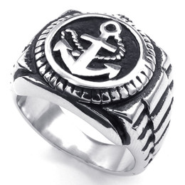 Wholesale Watch Rings China - 072347-Ring wholesale china Men's Stainless Steel Anchor Watch Nautical Ring, Width: 19mm US Size: 7-15