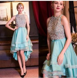 Wholesale High Low Skirts Chiffon - 2017 Short Homecoming Dresses Sparkly Beaded Sleeveless Fashion High Low Tiered Skirts Prom Party Cocktail Dresses Evening Dresses
