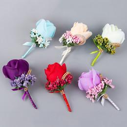 Wholesale Silk Wedding Bridesmaid Bouquets - Hot Sale Bridesmaid Rose Silk Corsage Gentleman Rose Boutonniere Artificia Wedding Bouquets Groom Groomsman Bouquet Silk Flower JM0180