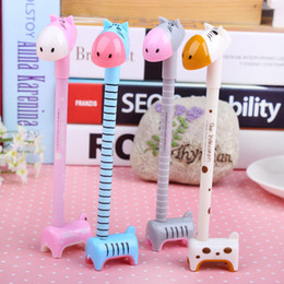 Wholesale Finance Cartoon - Hot Sale Cartoon Ball Pen Lovely Can Stand Hippo Pen Little Donkey Ball-Point Pen children student gift mix colour