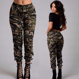 Wholesale S Beam - fashion new army green Camouflage pants plus size spring autumn women casual belt lacing pocket Beam feet trousers pencil pants capris