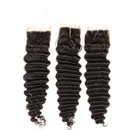 Wholesale Deep Wave Free Closure - Deep Wave Water Wave Closure Human Hair Virgin Remy Malaysian Hair Frence Lace Free Style Mid Part Three Part Bleached Knot Natural Hairline
