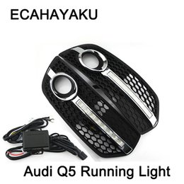 Wholesale daytime running lights audi - 1 Pair Car-styling DRL ABS Front Bumper Daytime Running Light Fog Light Covers Lamp Masks Fit For Audi Q5 09-13