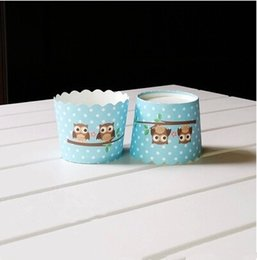 Wholesale Cheap Cake Cupcake Boxes - Free shipping blue owl cupcake case, muffin paper small cake cups tin liners, cheap cupcakes boxes holder supplies