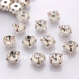 Wholesale Sew Crystal Rhinestone 8mm - Free shipping SS38(8mm) Silver Plated 288Pcs set Crystal Sew on Rhinestone