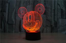 Wholesale Micky Mouse Party - 2017 micky mouse 3D Night Lamp Optical Night Light 9 LEDs Night Light DC 5V Factory Wholesale hot