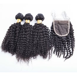 Wholesale Human Hair Bundle Packs - Hot sell kinky curly market human hair 3 bundles with one piece 4*4 lace closure one pack peruvian human hair weaves with closure