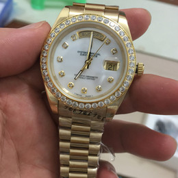 Wholesale AAA quality Mens automatic mechanical watch Gold Diamond Ring full gold strap watch Sapphire original buckle watches men