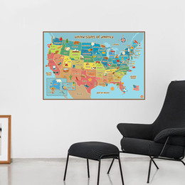 Wholesale Country Maps - United State Map Wall Decor Colorful America Map Wall Sticker School Room Background Study Decoration Home decoration