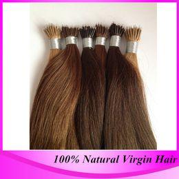 Wholesale Nano Ring Hair Extension - Free Shipping 100strand pack Micro Nano Ring Hair Extensions #4 Dark Brown Brazilian Straight High Quality Nano Bead Hair Extension