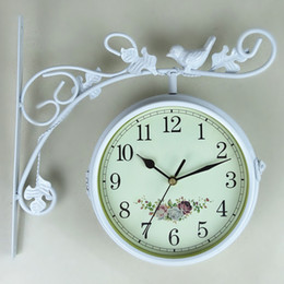 Wholesale Wrought Iron Garden Decorations - Free ship part countries wrought iron white garden bird double face side wall clocks,clock.watch with two sided home decoration
