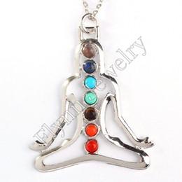 Wholesale Human Heart Halloween - Beautiful 7Chakra Beads Sun Moon Star Yoga Buddha Goddess Human Oval Tree Of Life Flower Metal Pendant Charms Energy Amulet Jewelry 10pcs