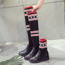 Wholesale Black Half Socks - Women Sock Boots Fashion Brand Superstar High Top Leather Boots Women Autumn Winter Cute Shoes For Girl Size 35-39 Free Shipping