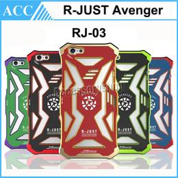 Wholesale Superhero Iphone Cover - R-JUST Avenger Aluminum Rjust Metal + PC Case Heavy Duty Shockproof Cover Superhero For iPhone 5 5S SE 6 6S Plus