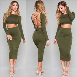 Wholesale Sexy Backless Midi Dresses - New Arrival Green Party Dress Ladies Sexy Backless Bodycon Sheath Dress Long Sleeve Lace-Up Midi Autumn Dresses DZF0604