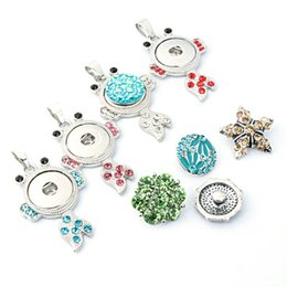 Wholesale Metal For Jewerly - NOOSA Chunk metal Ginger Snap Button Pendants Necklace Crystal Interchangeable Jewerly for Women